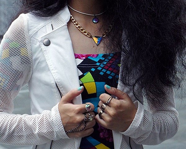 Mesh Up, Material Girl White Mesh Inset Blazer, vintage Off-The-Shoulder Top, Playful & Snazzy Jewels, Handmade Jewelry, Chunky Crystal necklace, Crystal Handpiece, Swarovski, Curls, White outfit, BK Nail Polish, peelable nail polish, Jem and The Holograms inspired look