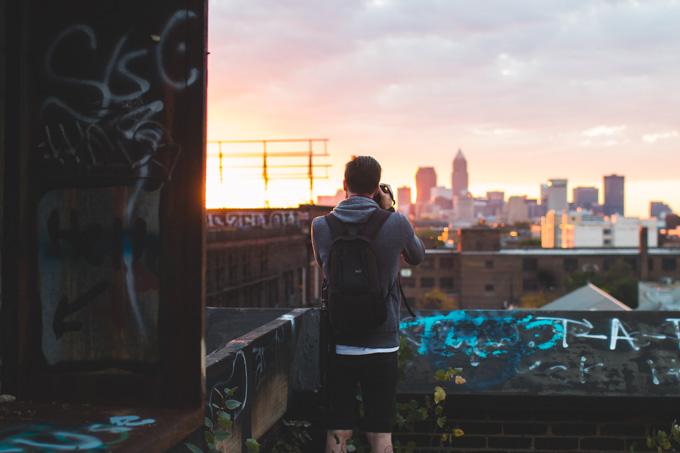 abandoned building, Cleveland, sunset