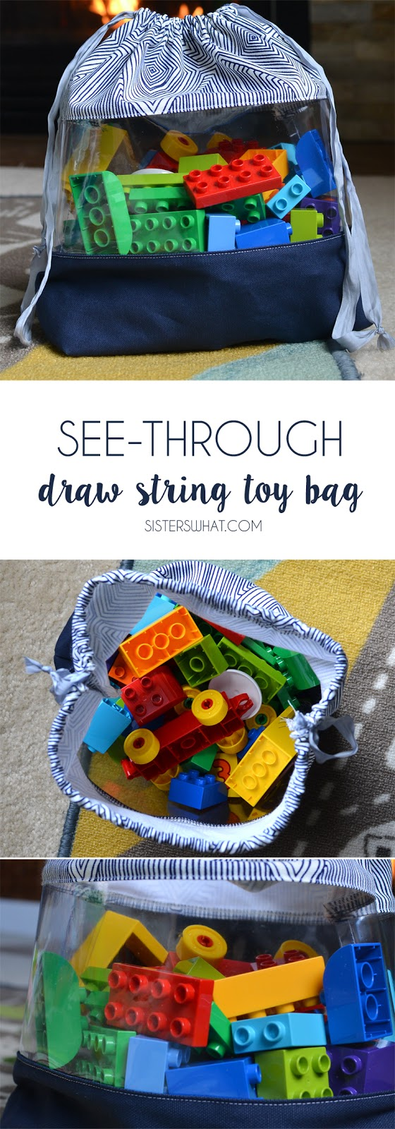 see through drawstring toy bag...perfect for organizing toys!!