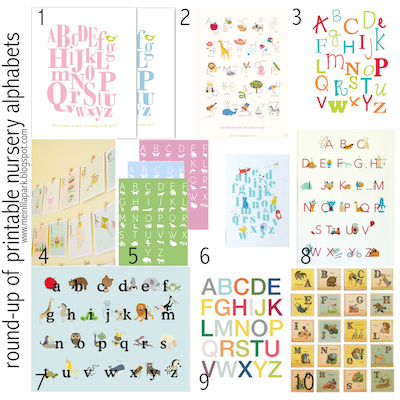 round up of free alphabet nursery wall art from me in lila park - Free Printables For Children