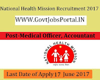 National Health Mission Recruitment 2017-Medical Officer, Accountant