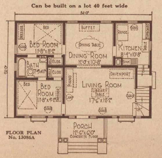 sears crescent floor plan 13086a