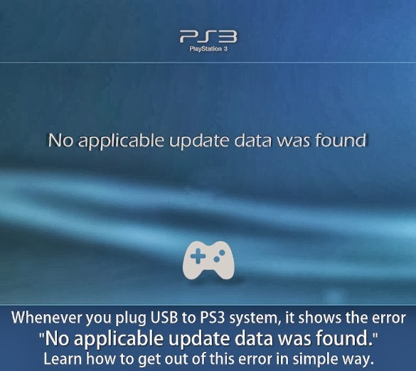 No Applicable update data was found - PS3