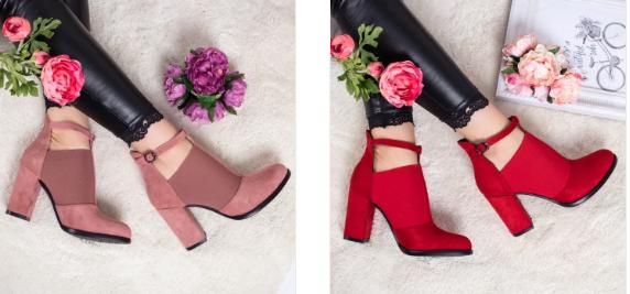 Pantofi roz, rosii casual cu toc gros din piele co intoarsa