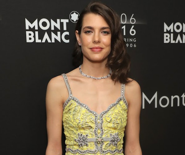 Hugh Jackman, Charlotte Casiraghi, and Montblanc CEO Jérôme Lambert attend the Montblanc 110 Year Anniversary Gala Dinner, rose ball, wedding dress, jewelery, jewel, diamond earrings