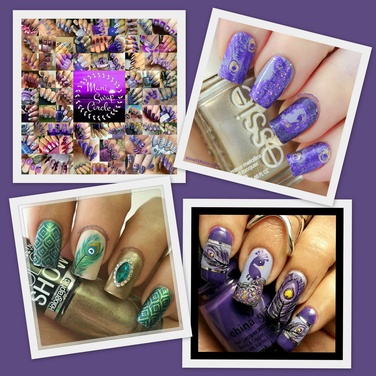 KimettKolor ManiSwapCircle Purple Peacock Nail Art