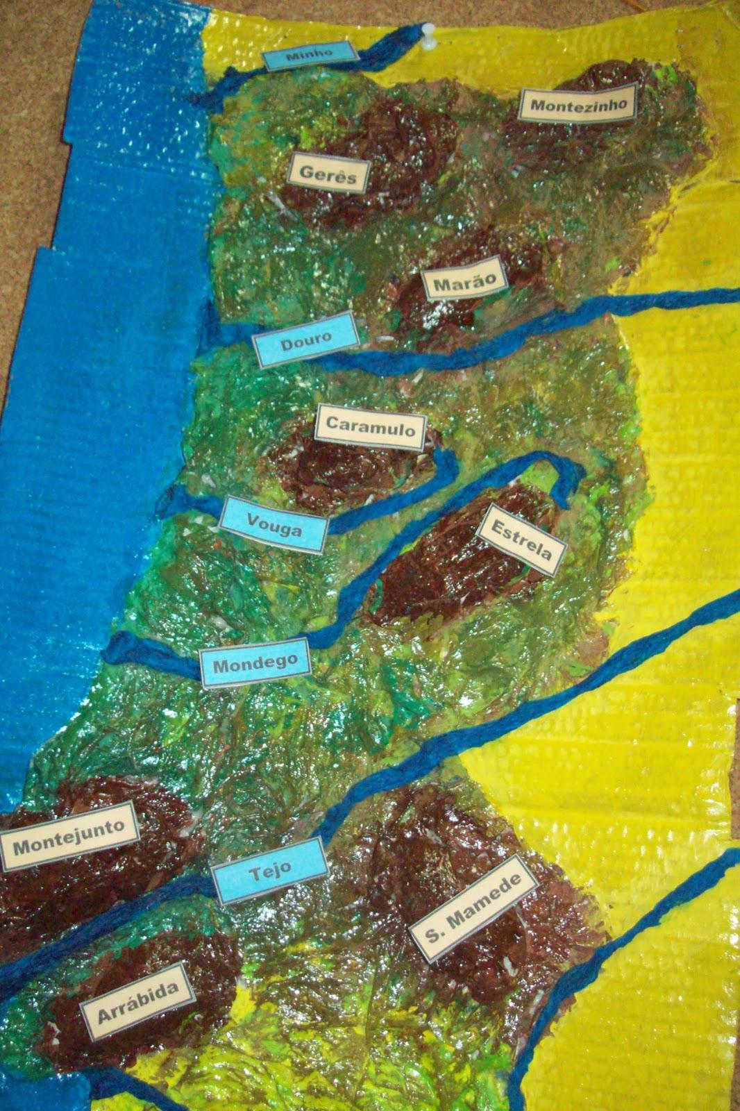 mapa de portugal com os rios e serras Mil palavrasmil experiências: Maquete as serras e rios de  mapa de portugal com os rios e serras