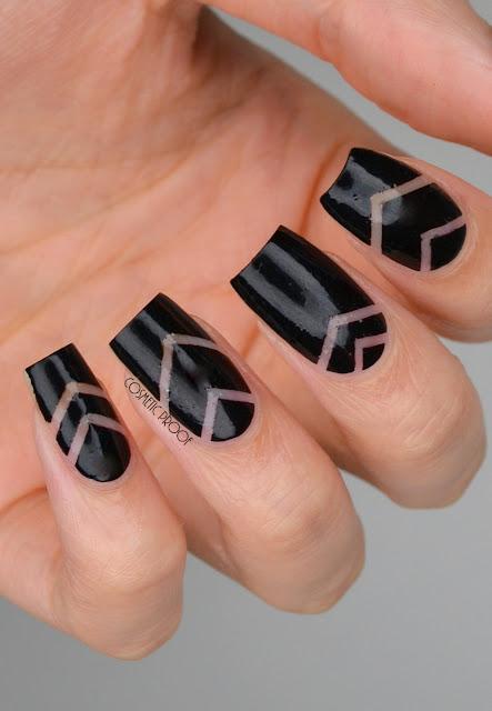 Negative Space Chevron Nail Art