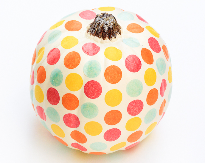cute confetti DIY no carve pumpkin halloween polka dot
