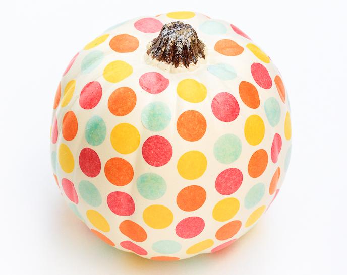 cute confetti DIY no carve pumpkin halloween polka dot