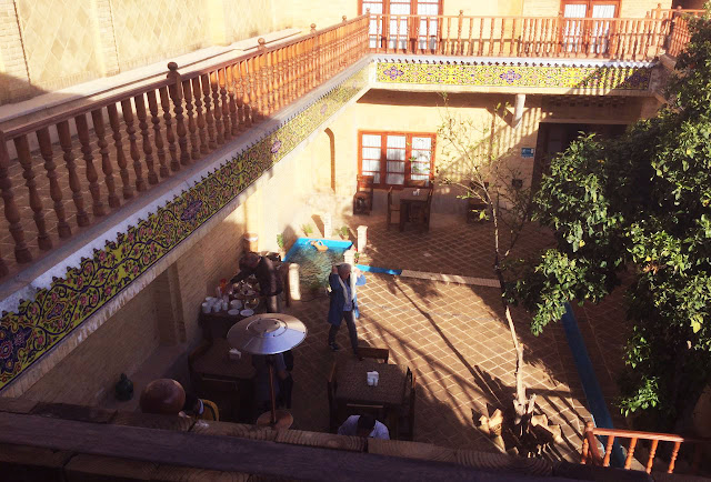 The terrace and the tile works of Forough Boutique Hotel.