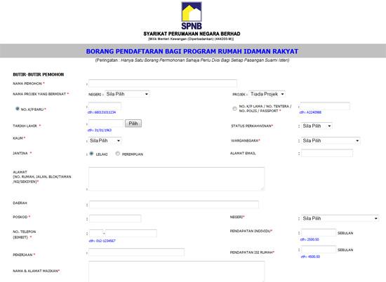 Borang online pendaftaran Rumah Idaman Rakyat SPNB