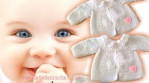 Aprende a Tejer una Chaqueta de bebé con canesú redondo / Tutorial