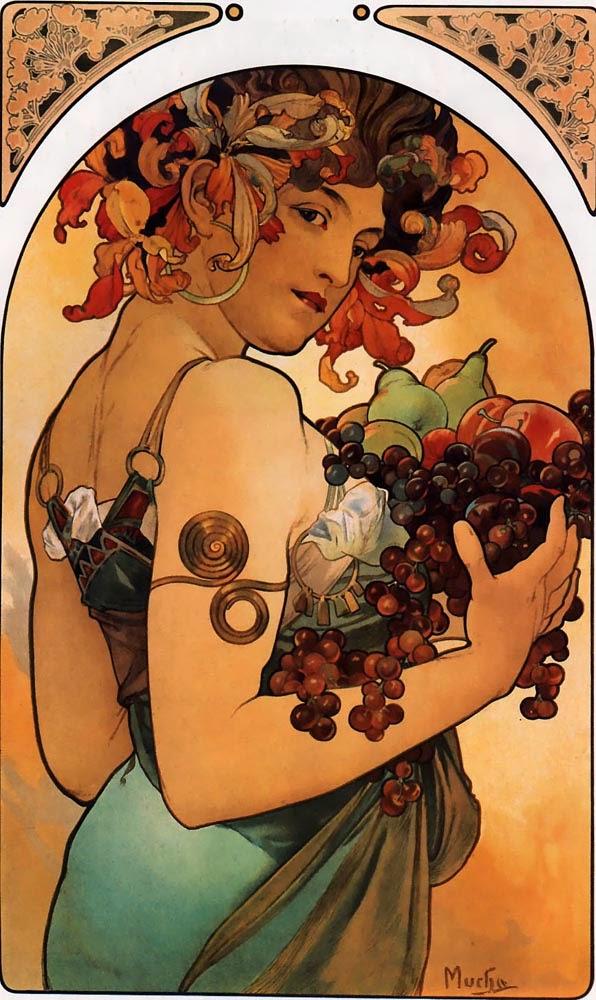 Frutas - Alphonse Mucha e suas principais pinturas ~ (Art Nouveau) Tcheco