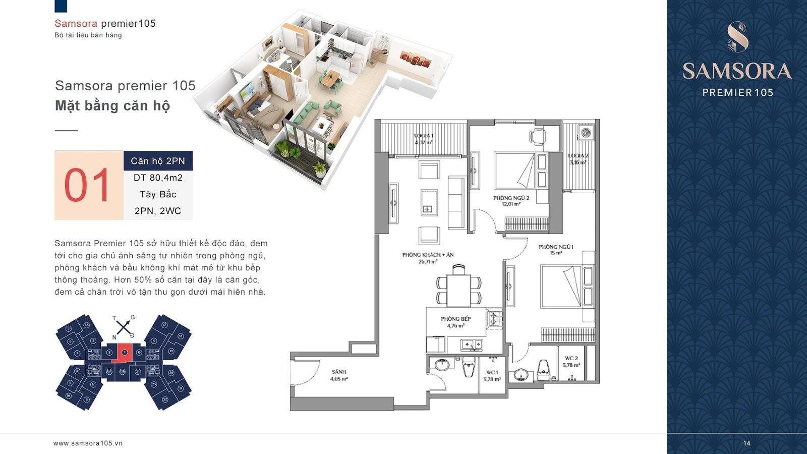 Mặt bằng căn hộ số 01 chung cư Samsora Premier