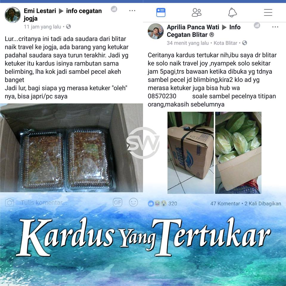 Ini Kisah Unik Penumpang Travel Dari Blitar, 2 Kardus yang Tertukar Bertemu di Facebook