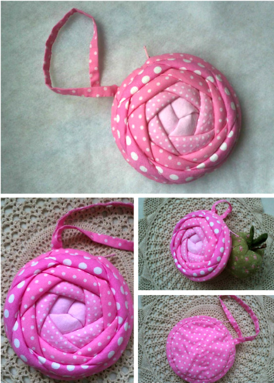 Coin Purse Rose.  Photo Sewing Tutorial. Step by step DIY.