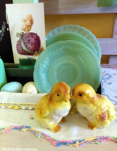 thrifty upcycled vintage Easter vignette