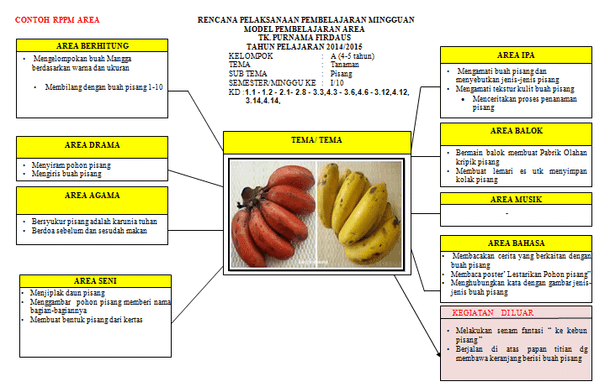 Contoh RPPM TK PAUD Kurikulum 2013 Model Pembelajaran Area