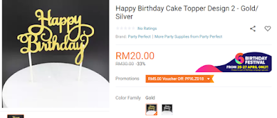 Lazada Birthday Festival Blogger Contest, Birthday Festival Sale, Lazada Malaysia, Anniversary Lazada Yang Ke - 6, Blogger Contest By Lazada, April, 2018, Happy Birthday Cake Topper,