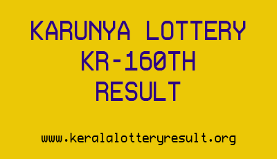 Karunya Lottery KR-160th Kerala Lottery Draw Result