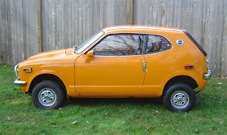 1972 Honda 600Z Coupe, Bright Orange, tiny, 2 cylinders.