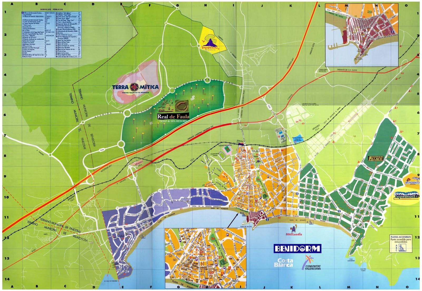 mapa sul de espanha benidorm Mapas de Benidorm   Espanha | MapasBlog mapa sul de espanha benidorm