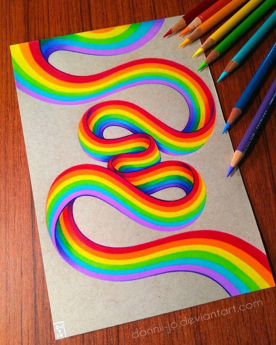 07-Rainbow-Ribbon-Danielle-Washington-Brightly-Colored-Pencil-Drawings-www-designstack-co