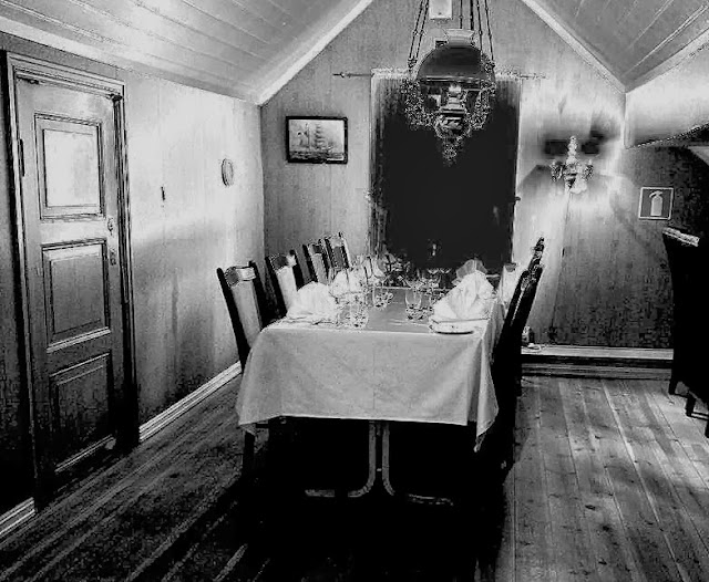 The dining room where we had dinner and heard our first ghost story. Photo: Denise Dubé. Effects: EuroTravelogue™.
