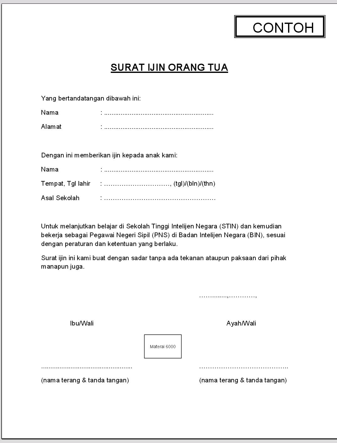 Contoh Surat Ijin Orang Tua Indomaret