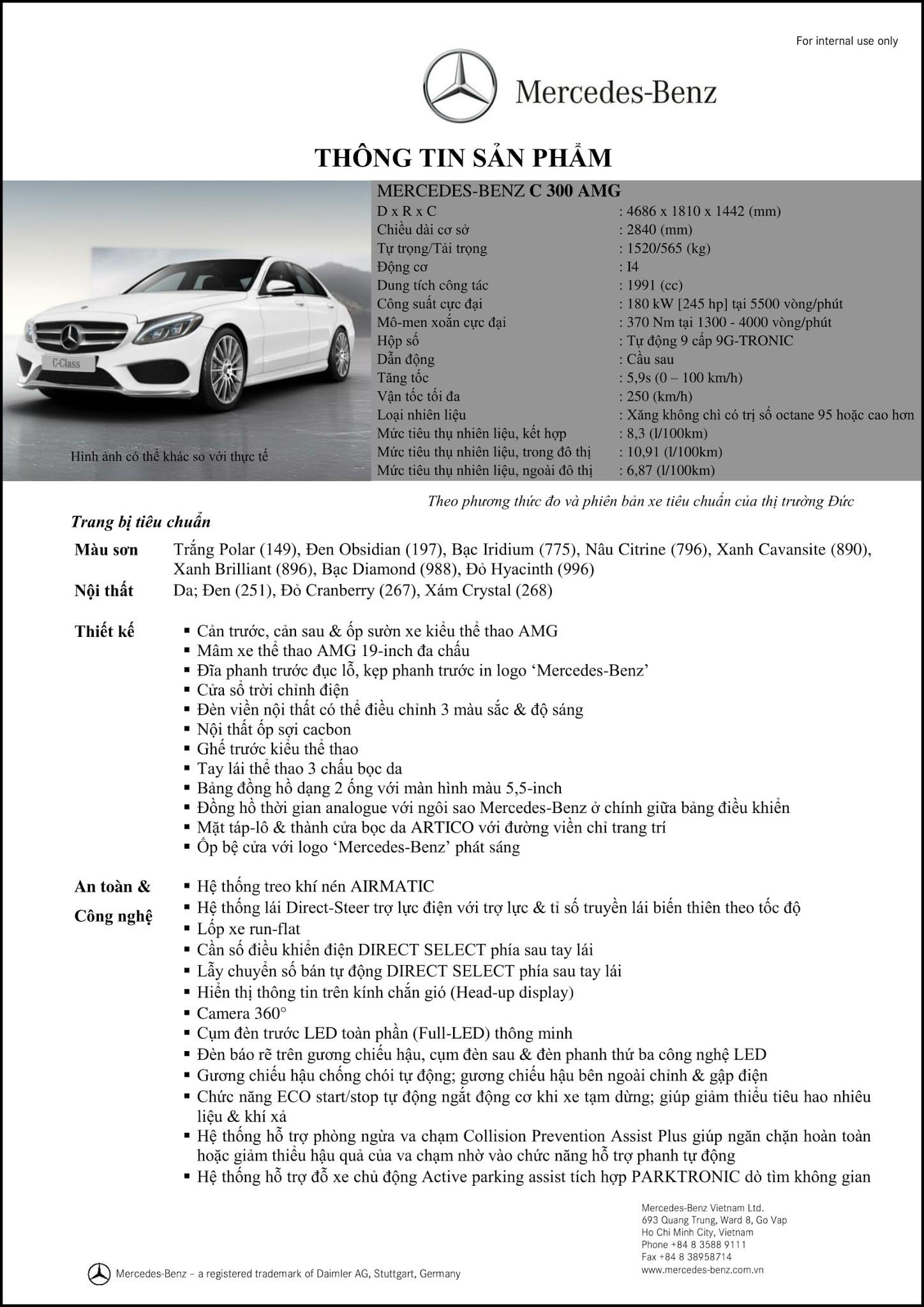 Bảng thông số kỹ thuật Mercedes C300 AMG 2017 tại Mercedes Trường Chinh