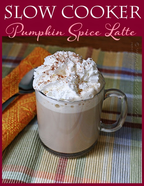 Slow Cooker Pumpkin Spice Lattes from Amanda's Cookin' featured on SlowCookerFromScratch.com