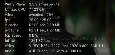 dettagli flusso streaming per NERD, bitrate, fps, codec audio e video usando Player Video Android