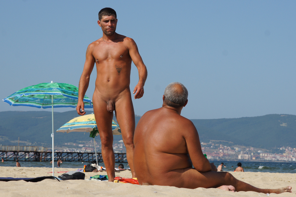 Male nudists at the beach