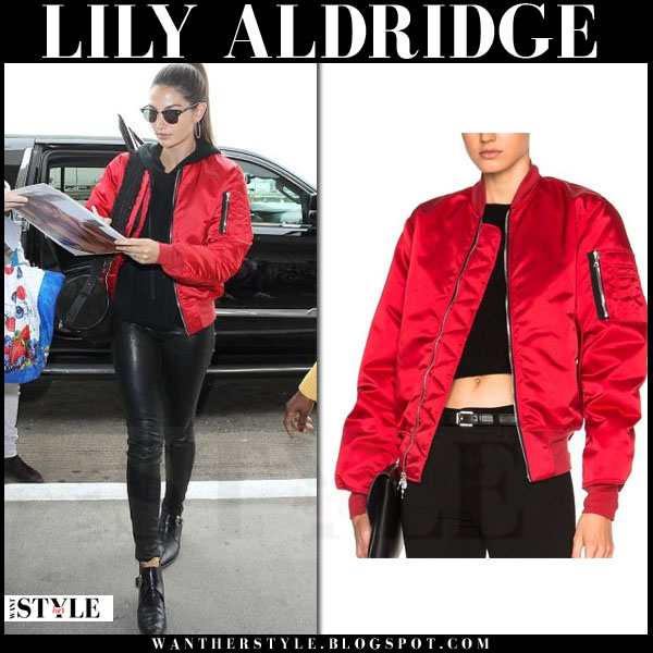 Lily Aldridge in red satin unravel bomber jacket and black leather j brand l8001 pants what she wore model style