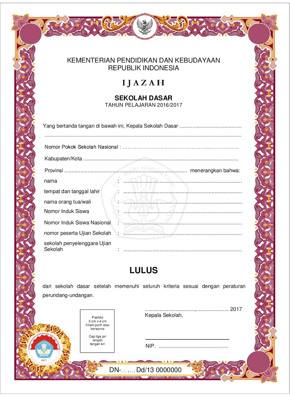 Download Contoh Blangko Ijazah Sd Tahun 2017 Sidapodik