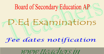 AP ded 1st year exam fee last date 2018-2019 & time table