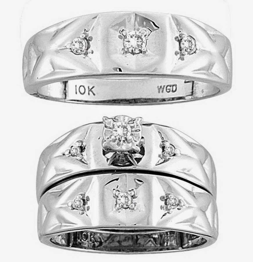 10K Trio Bridal Ring Sets Diamond Under 200 Dollars Images
