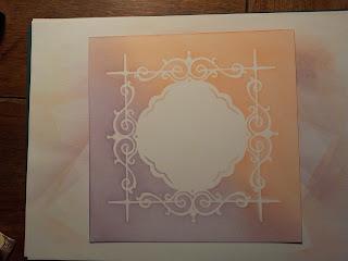 Purple and orange background with stencilled frame