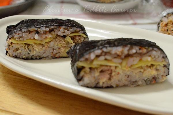Elinluv's Tidbits Corner: Tuna Onigirazu ( Tuna Sushi