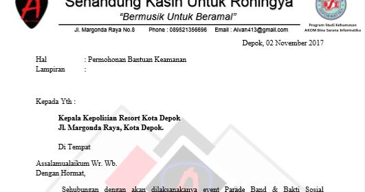 Contoh Surat Izin Keramaian Untuk Kepolisian Terkait