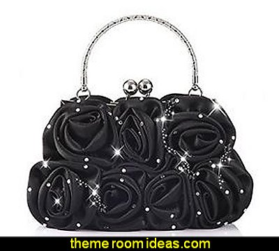 Women Satin Rose Rhinestone Pure Color Handbag Evening Bags Wedding Handbags Carved Handle