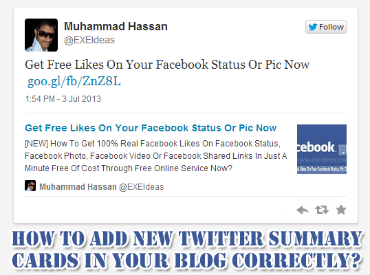 How To Add New Twitter Summary Cards In Your Blog Correctly?