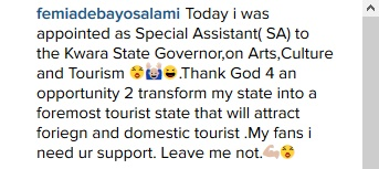 Femi Adebayo Appointed SSA To Kwara Governor On Arts, Culture & Tourism