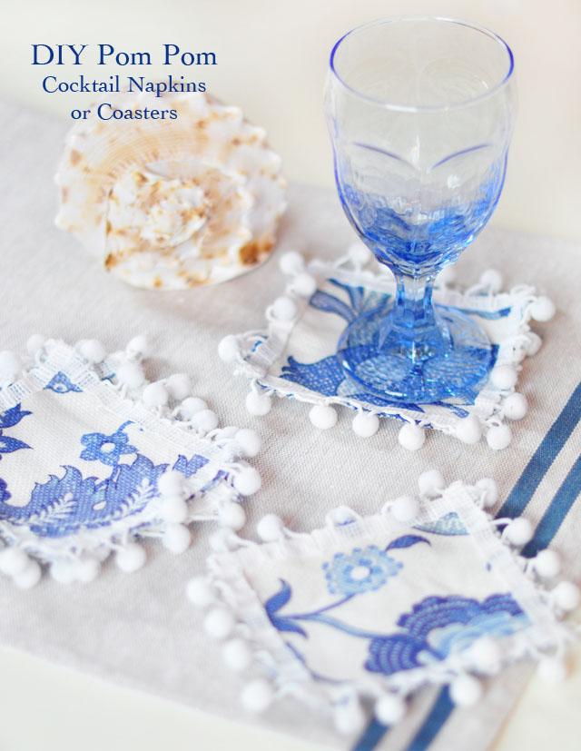 DIY Pom Pom Cocktail Napkins or Coasters, blue and white