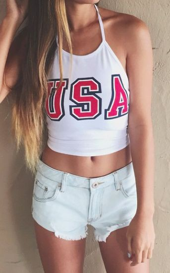 summer outfit idea: top + denim shorts