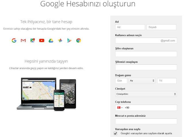 google hesap oluşturma