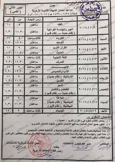 جدول ومواعيد امتحانات الدور الثاني للثانوية الازهرية 2018 بالصور