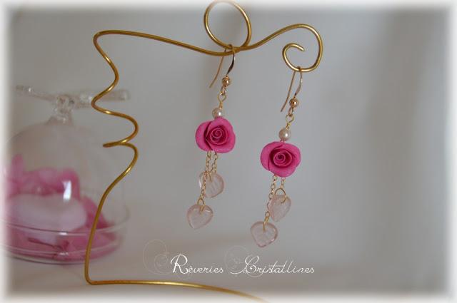 boucles d'oreilles mariage avec roses