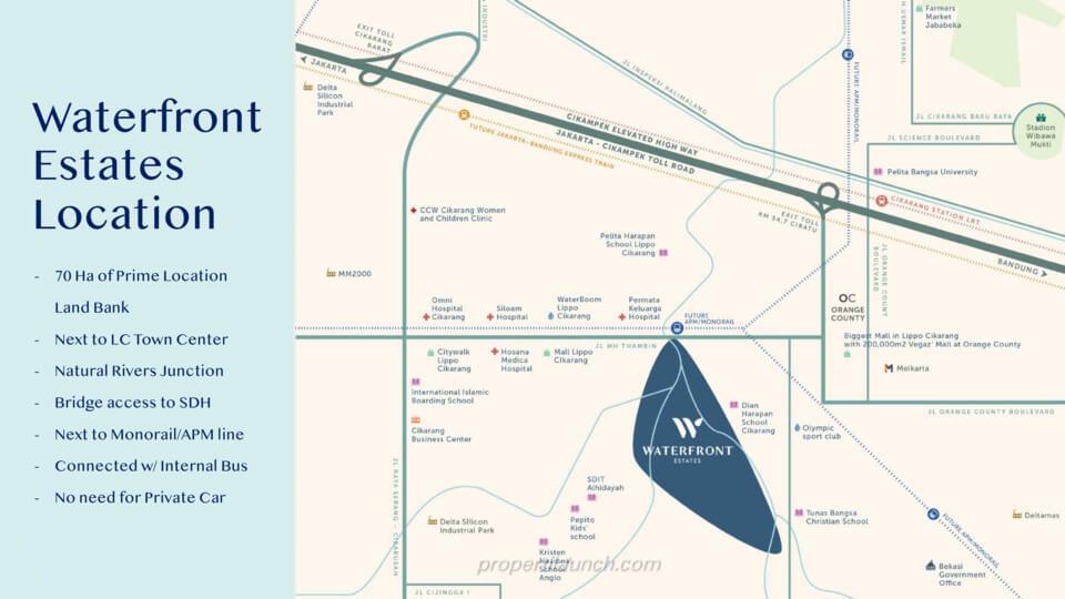 Lokasi Waterfront Estate Lippo Cikarang